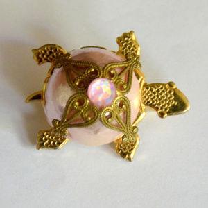 vintage ornate rhinestone turtle brooch pin animal